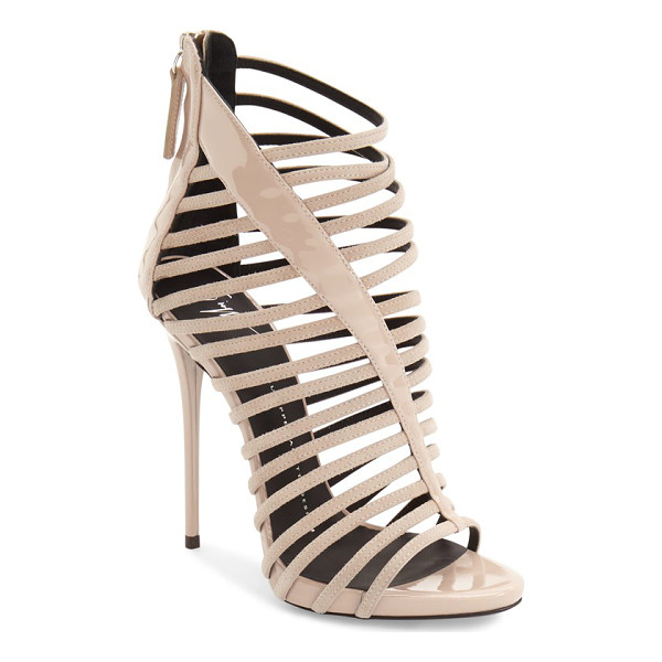 GIUSEPPE ZANOTTI coline cage sandal - A tapered patent panel stretches asymmetrically across the...