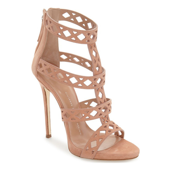 GIUSEPPE ZANOTTI geometric cage sandal - A laser-cut cage sandal crafted in Italy from lush suede