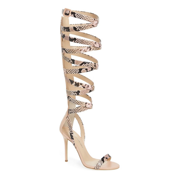 GIUSEPPE ZANOTTI giuseppe for jennifer lopez emme knee-high gladiator sandal - Crisscrossed straps textured with snake embossing intensify