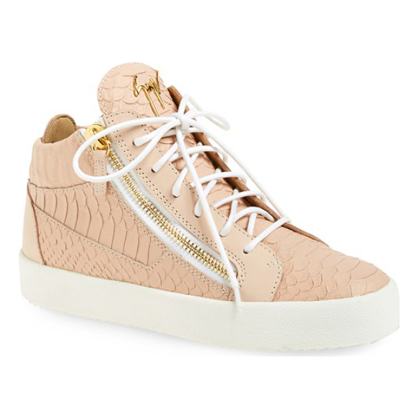 GIUSEPPE ZANOTTI high top sneaker - A street-chic high top is detailed with edgy, gleaming gilt...