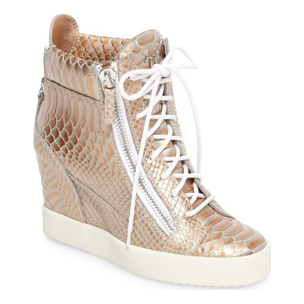 GIUSEPPE ZANOTTI lamay lorenz high top wedge sneaker - Croc-embossed leather burnished in silvers and coppers...