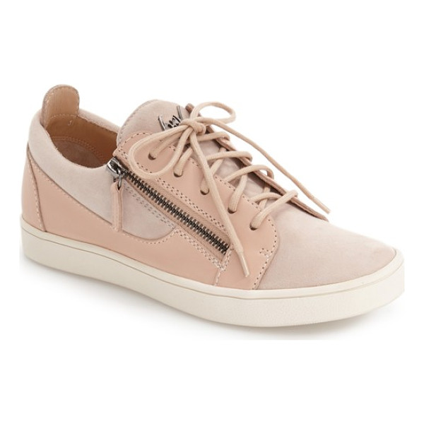 GIUSEPPE ZANOTTI low top zip sneaker - Tonal panels of soft suede add a modern touch to a...