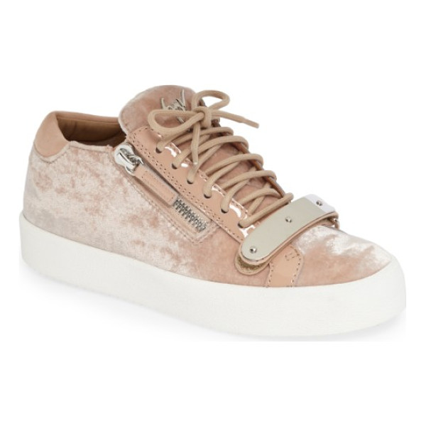 GIUSEPPE ZANOTTI mixed media sneaker - Polished-metal hardware furthers the streetwise edge of an...