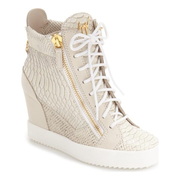 GIUSEPPE ZANOTTI ofelia wedge sneaker - Metallic accents and a gleaming logo plate distinguish a...