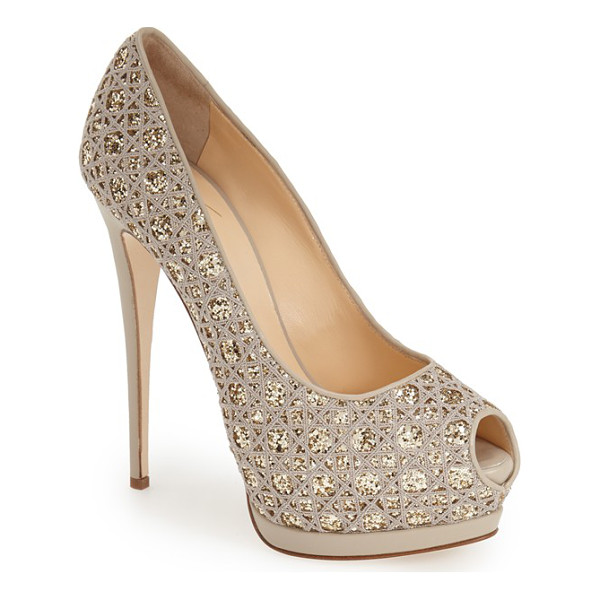 GIUSEPPE ZANOTTI sharon platform pump - Allover glitter and a lofty platform sole extend the...