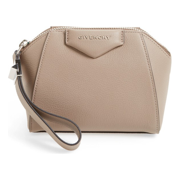 GIVENCHY 'antigona' leather zip pouch - Softly pebbled leather lends a textured finish to this...