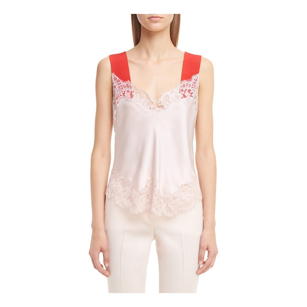 GIVENCHY contrast & lace trim camisole - Contrast straps add a modern pop of color to a strappy cami...