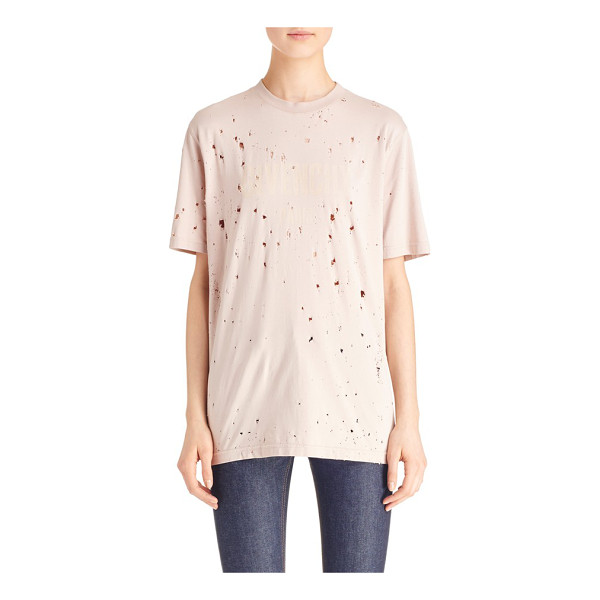 GIVENCHY logo print destroyed stretch jersey tee - A tonal logo print adds understated signature style to an...