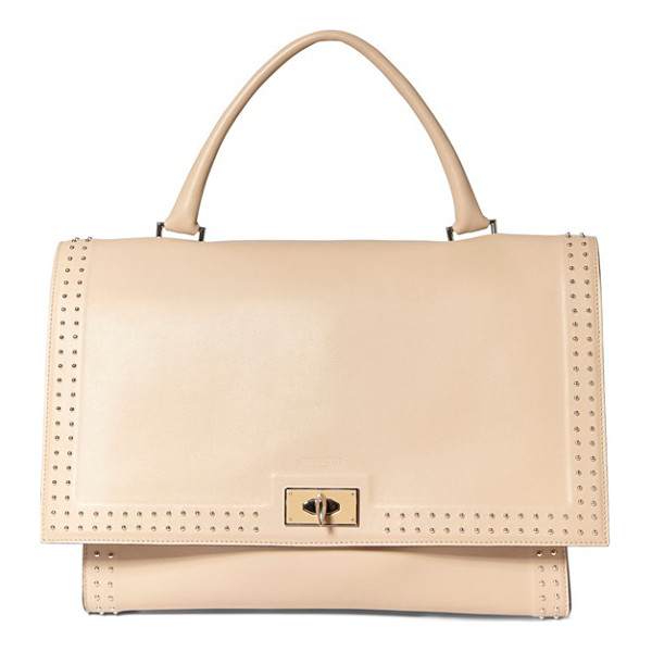 GIVENCHY Medium shark tooth studded leather satchel - Shark-tooth-shaped turnlock hardware lends sculptural edge...