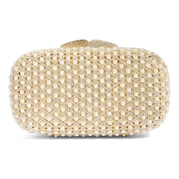 GLINT crystal beaded minaudiere - Pearlescent beads nestle in between the latticework of