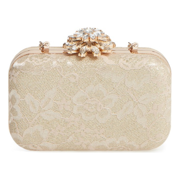 GLINT crystal flower clasp lace minaudiere - Shimmering metallic fabric peeks through the romantic