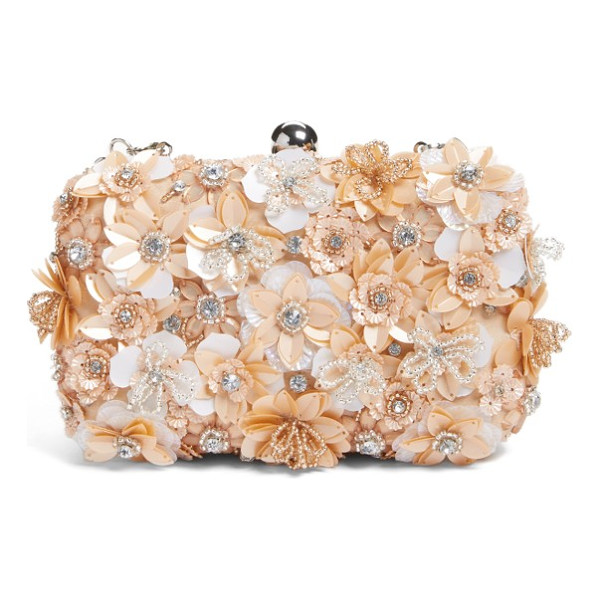 GLINT floral applique minaudiere - A garden of floral appliques encrusted with shimmering