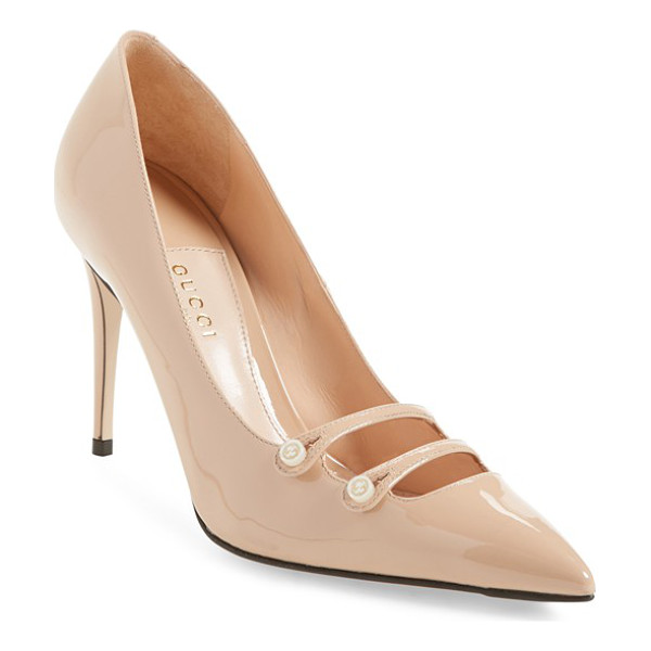 GUCCI aneta pump - Polished patent leather defines a stunning pointy-toe pump...