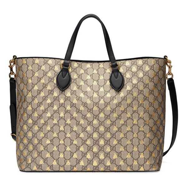 GUCCI bee gg supreme canvas tote - Golden bumblebees add subtle luster to the iconic GG-print...