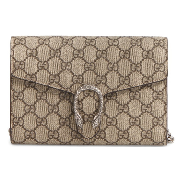 GUCCI dionysus gg supreme canvas wallet on a chain - Gucci's distinctive tiger-head spur highlights this GG...
