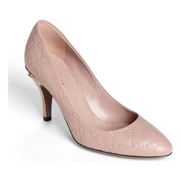 GUCCI elizabeth pump - Logo embossing lends signature Gucci style to an almond-toe...