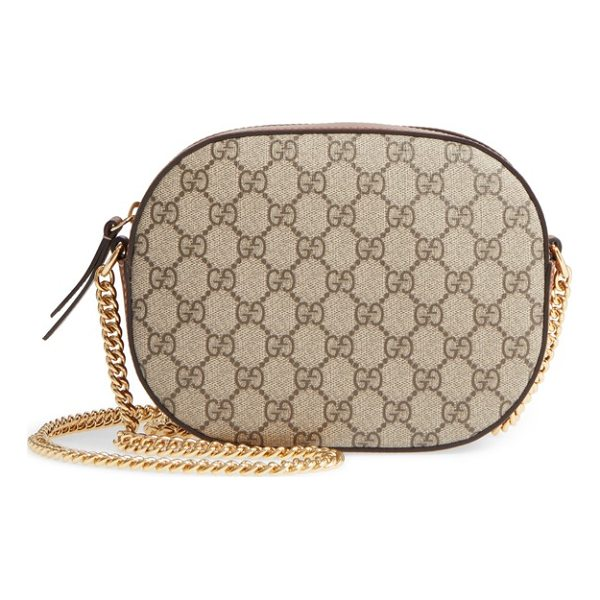 GUCCI gg linea canvas & leather camera bag - Smooth leather details and Gucci's GG Supreme canvas add to...