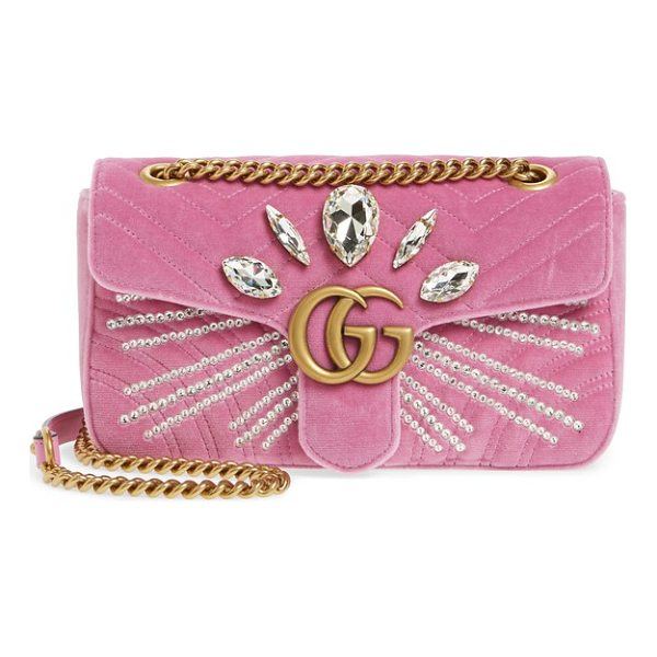 GUCCI gg marmont 2.0 crystal embellished velvet crossbody bag - Radiant crystals and shining double-G hardware-inspired by...