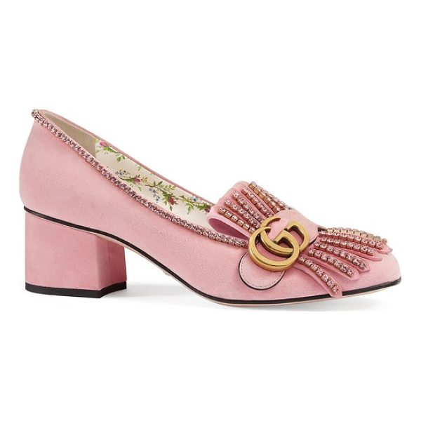 GUCCI gg marmont crystal embellished pump - Pink suede and a rose-patterned lining detail this standout...