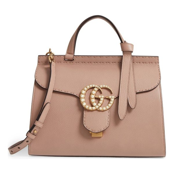 GUCCI gg marmont imitation pearl logo top handle leather satchel - Double-G hardware inspired by a '70s-era design found in...