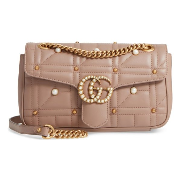 GUCCI gg marmont matelasse imitation pearl leather shoulder bag - Double-G hardware inspired by a '70s-era design found in...