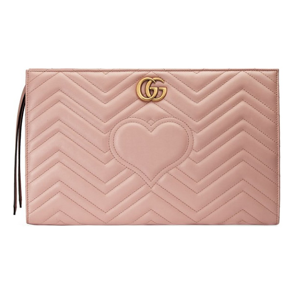 GUCCI gg marmont matelasse leather clutch - Featuring both the double-G logo and heart motif framed by...