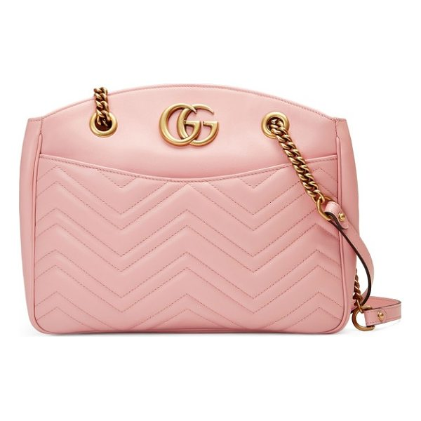 GUCCI gg marmont matelasse leather shoulder bag - Double-G logos inspired by a '70s-era design found in the...