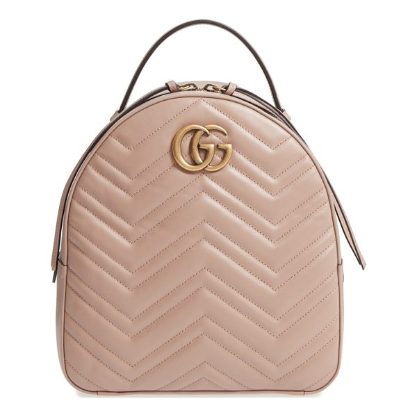 GUCCI gg marmont matelasse quilted leather backpack - Done in a perfect pink hue, this smooth leather backpack is...