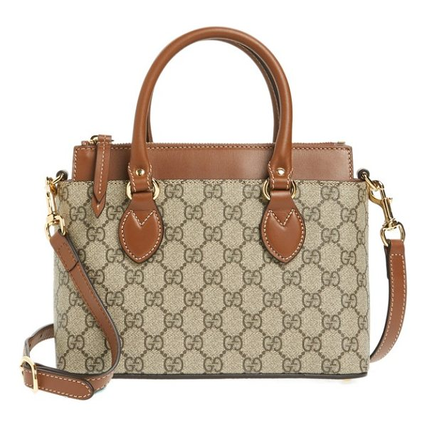 GUCCI gg mini linea a canvas & leather crossbody tote - Smooth leather details and Gucci's GG-Supreme canvas add to...