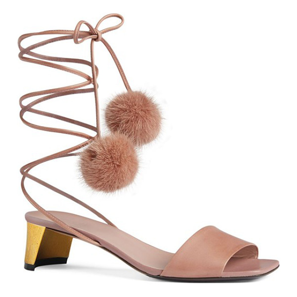 GUCCI heloise sandal - Slender leather laces tipped with plush pompoms of genuine...