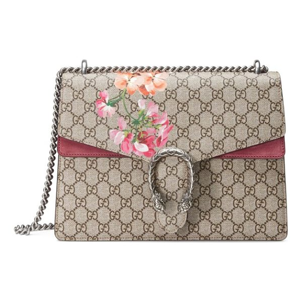 GUCCI large floral gg supreme canvas & suede shoulder bag - Gucci's special-edition Blooms print adds a splash of...