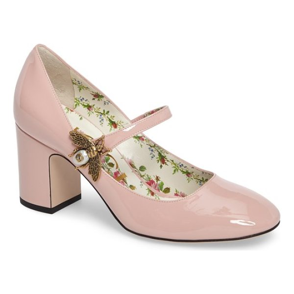 GUCCI lois bee mary jane pump - A luminous metal bee alights at the mary-jane strap of a...