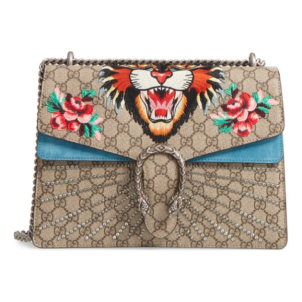 GUCCI medium angry cat gg supreme canvas & suede shoulder bag - Embroidered roses set off Gucci's new Angry Cat motif, a...