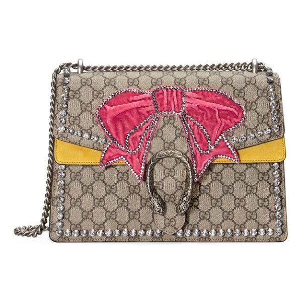 GUCCI medium dionysus gg supreme canvas shoulder bag - Plush suede details, sparkling crystals, a pink velvet bow...