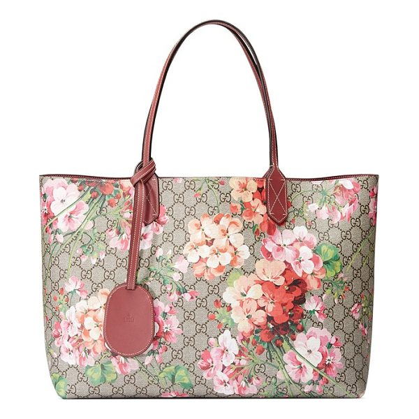 GUCCI medium gg blooms reversible canvas & leather tote - Gucci's signature Blooms print and double-G canvas reverses...