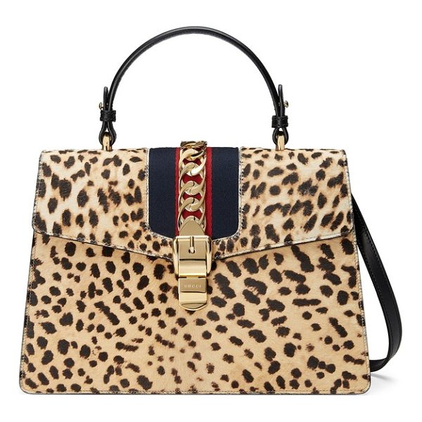 GUCCI medium sylvie top handle genuine calf hair shoulder bag - Classic glamour and contemporary detailing merge...
