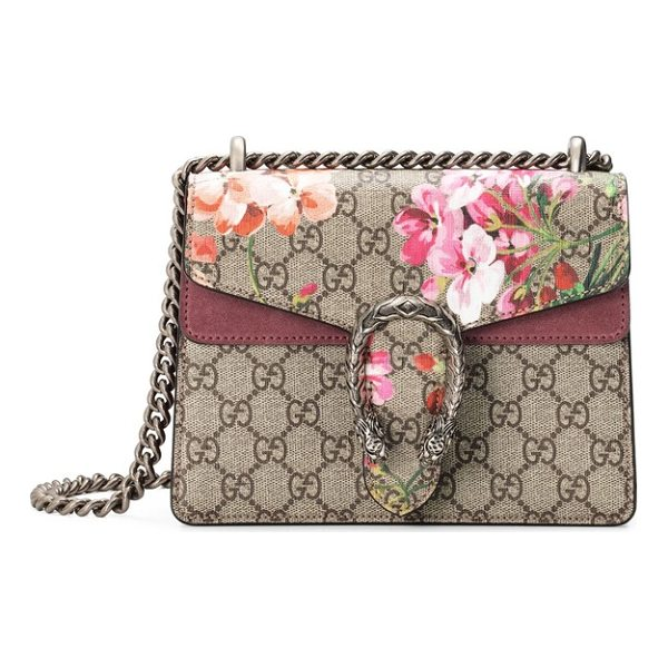 GUCCI mini dionysus gg blooms canvas & suede shoulder bag - Rosy suede details beautifully tie together Gucci's...