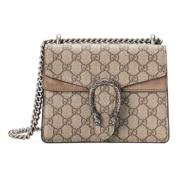GUCCI mini dionysus gg supreme shoulder bag - Plush suede details spotlight Gucci's distinctive...