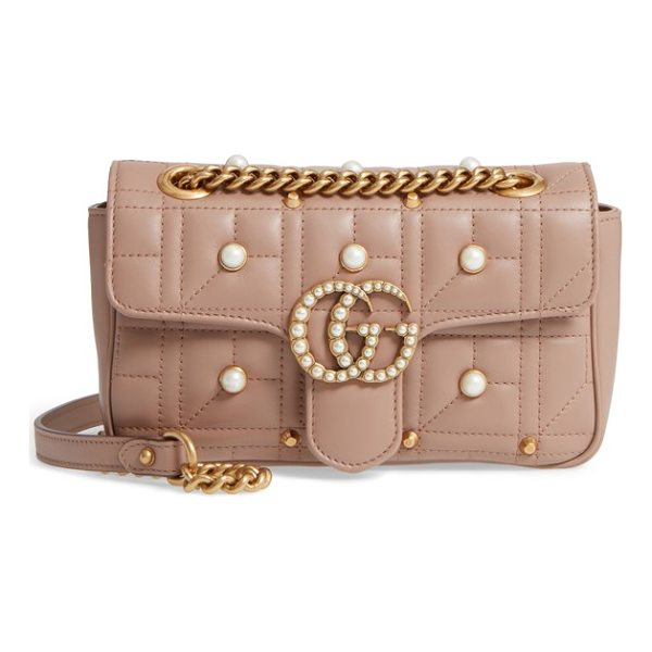 GUCCI mini gg marmont 2.0 imitation pearl logo matelasse leather shoulder bag - Double-G logos inspired by a '70s-era design, found in the...
