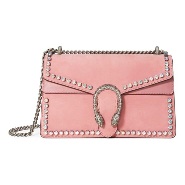 GUCCI small dionysus crystal embellished suede shoulder bag - Glinting crystals highlight the peony-pink suede exterior...