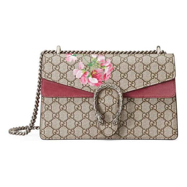 GUCCI small dionysus floral gg supreme canvas shoulder bag - Antiqued-rose suede details, lush painted blossoms and a...