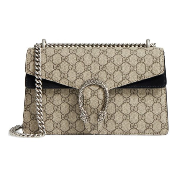 GUCCI small dionysus gg supreme canvas & suede shoulder bag - Plush suede details beautifully tie together Gucci's GG...