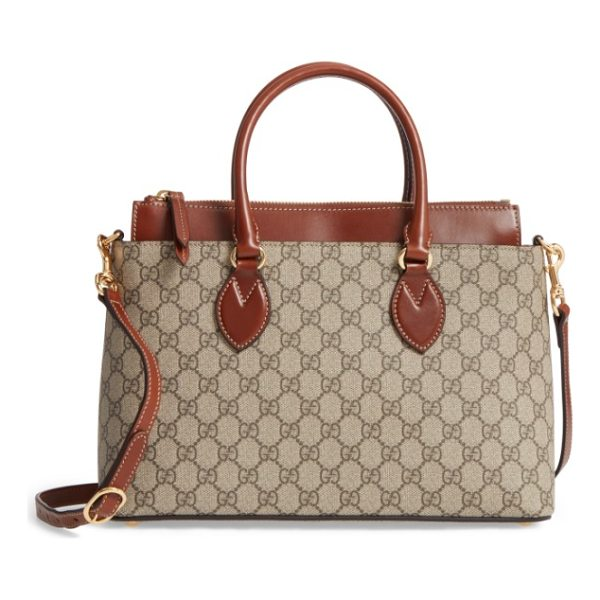 GUCCI small top handle gg supreme canvas & leather tote - Rich leather detailing at the elevated topline and...