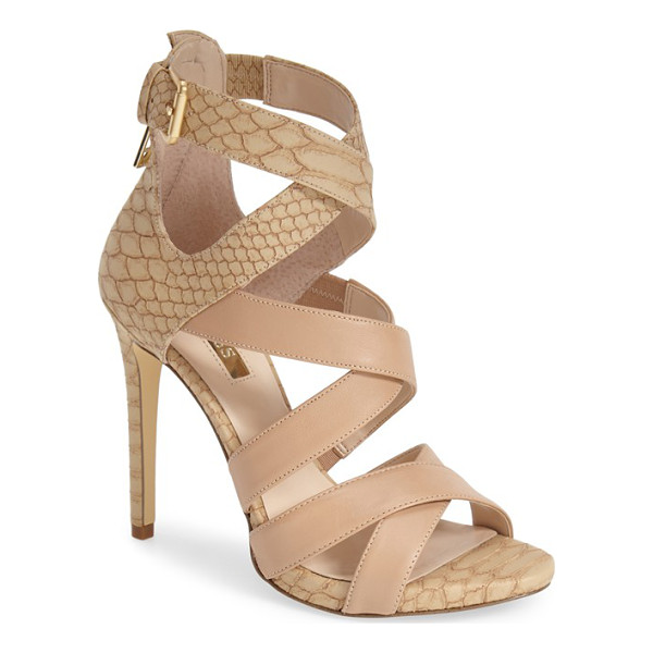 GUESS abby strappy sandal - A reptile-embossed wrapped stiletto heel, counter and...