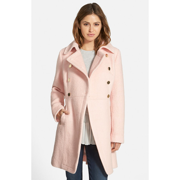 GUESS double breasted boucle cutaway coat - A broad notch collar and double-breasted styling with shiny...