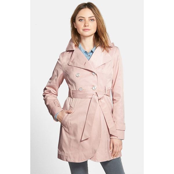 GUESS double breasted trench coat with detachable hood - A cotton-blend trench accented with metallic-rimmed logo...