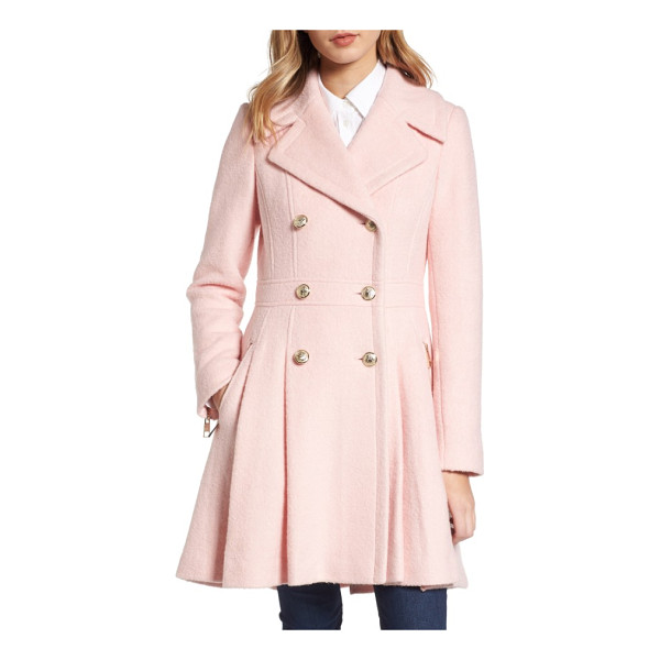 GUESS double breasted wool blend coat - Gleaming goldtone buttons add military polish to a warm...
