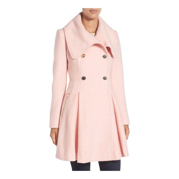 GUESS envelope collar double breasted coat - A dramatic envelope collar and a quartet of golden buttons...