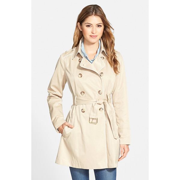 GUESS piped fit & flare trench coat - A flared skirt and bright piping add a feminine touch to a...