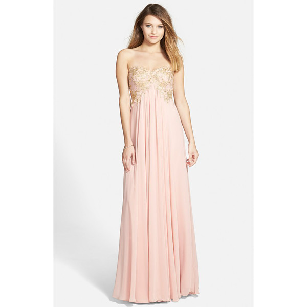 HAILEY BY ADRIANNA PAPELL embroidered chiffon strapless gown - Stunning golden embroidery details the strapless bodice...